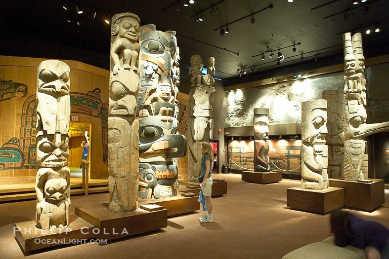 Totems on display in the Royal British Columbia Museum